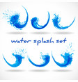 blue water waves logo collection abstract eco vector image