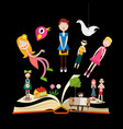 book stories concept design with people on book vector image vector image