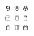 box icon set in thin line style image vector image vector image
