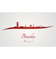 Brasilia skyline in red and gray background vector image vector image