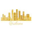 brisbane city skyline golden silhouette vector image