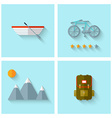 Camping adventure icons set flat design vector image