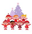 caroling christmas kids vector image vector image