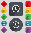 clock icon sign A set of 12 colored buttons and a vector image vector image