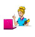 comic book blond surprise woman pop art vector image vector image