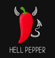 concept angry evil hell chili pepper vector image vector image