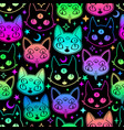 cute cartoon witchcraft cat bright seamless vector image vector image
