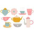 cute tea set tea party elements with teapot vector image