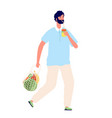eco friendly person man using sustainability bag vector image vector image