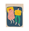 family couple sleeping together in double bed at vector image vector image