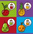 fruits and juices kawaii cartoon banners vector image