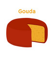 gouda cheese block cartoon flat style vector image vector image