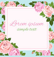 greeting card with pink and beige roses on the vector image vector image