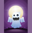 halloween ghost in moonlight and graveyard vector image