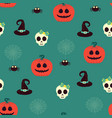 halloween seamless pattern with scull and pumpkin vector image vector image