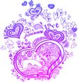 Heart valentine doodles vector image vector image
