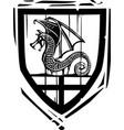 heraldic shield dragon vector image vector image