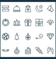 holiday icons set with clink glasses bells vector image vector image