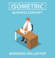 Isometric businessman working on laptop vector image