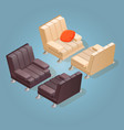 isometric cartoon armchair icon isolated on blue vector image