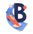 letter b for bobsled or bobsleigh with team vector image