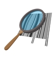 Loupe with a barcode cartoon icon vector image vector image