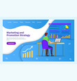 marketing and promotion strategy web page template vector image vector image