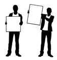 men holding panels vector image vector image