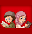 muslim students reading book vector image