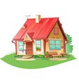 old cozy rural house is isolated on a vector image