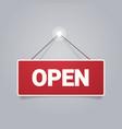 open door advertising sign store opening concept vector image vector image