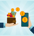pay or make money online concepts hands holding vector image