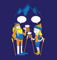 people hiking and drink beer vector image