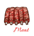 pork or mutton fresh ribs meat sketch icon vector image vector image
