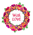 round floral frame with quote love design vector image