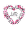 sakura japan cherry branch of wreatht with vector image