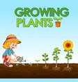 scene with kid planting trees in garden vector image