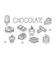 set chocolate desserts in sketch style vector image vector image
