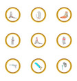 Surgical intervention icons set cartoon style