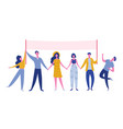 teamwork characters standing holding text board vector image