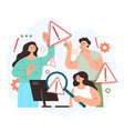 teamwork people characters searching system error vector image