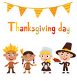thanksgiving day indian and pilgrims boys and vector image vector image