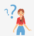 thinking question dreaming woman girl troubled vector image