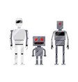 three modern and retro style robot characters vector image vector image