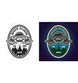 ufo attack emblem badge label or logo vector image vector image