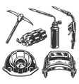 welder and miner work tools collection vector image