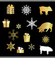 with pig silhouette presents and golden snowflakes vector image vector image