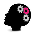 woman head with gears and cogs symbol vector image vector image