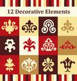 12 decorative elements vector image