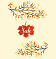 banner with the words sale autumn leaves vector image